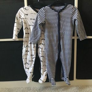 Two baby footie onesies